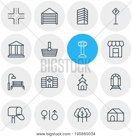 Vector Illustration Of 16 Infrastructure Icons. Editable Pack Of Home, Clinic, Basket And Other Elements.