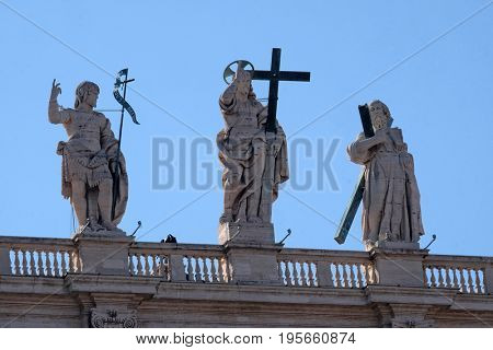 ROME, ITALY - SEPTEMBER 02: St. John the Baptist, Jesus, St. Andrew, colonnade of St. Peters Basilica - the world largest church, is the center of Christianity in Rome on September 02, 2016.