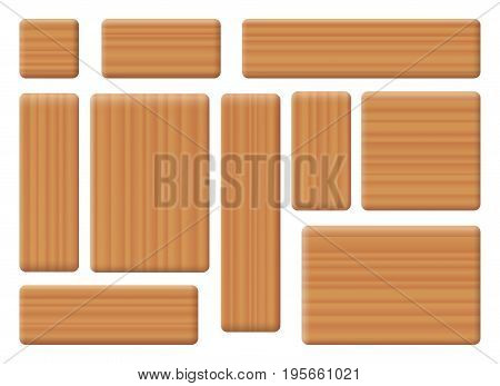 Wooden building bricks - toy blocks, various shapes, horizontal and vertical - ten items with wooden texture to be used as construction toys. Isolated vector illustration on white background.
