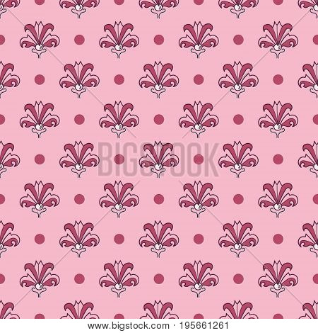 Seamless floral pattern inspired by Art Nouveau style