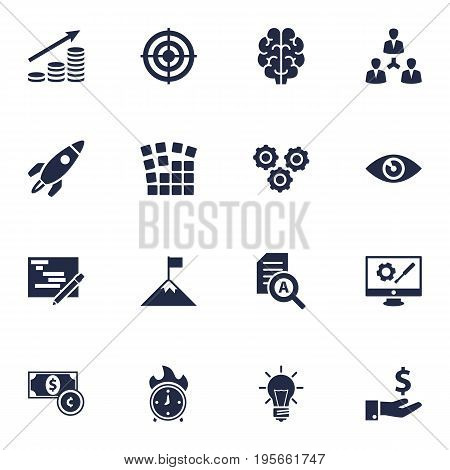 Set Of 16 Strategy Icons Set.Collection Of Vision, Achievement, Currency And Other Elements.