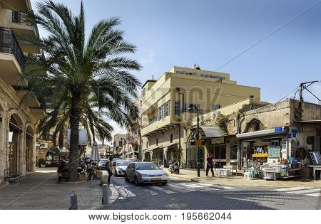 Tel Aviv Israel : May 04 2017 : Tel Aviv old district near Jaffa withs small shops and typicals streets bty day. Israel