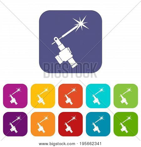 Mig welding torch in hand icons set vector illustration in flat style In colors red, blue, green and other