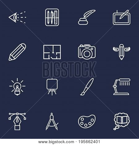 Set Of 16 Creative Outline Icons Set.Collection Of Easel, Graphic Tablet, Paintbrush And Other Elements.