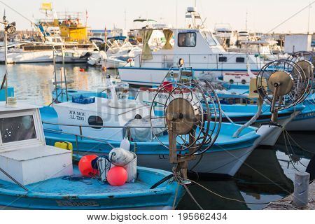 AYIA NAPA, CYPRUS - February 02, 2017: Harbor of Ayia Napa. Harbor is currently a famous tourist resort. Boats in Ayia Napa.