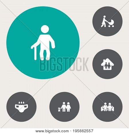 Set Of 6 People Icons Set.Collection Of Married, Nappy, Perambulator And Other Elements.