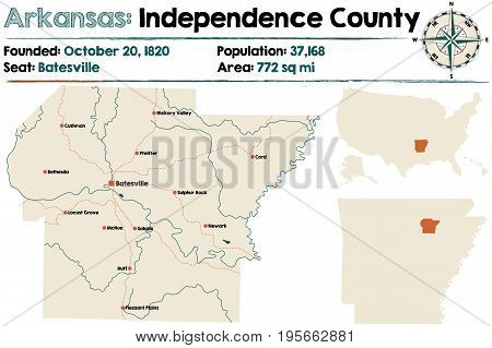 Large and detailed map of Arkansas - Independence county