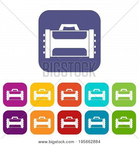Welding machine icons set vector illustration in flat style In colors red, blue, green and other