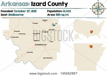 Large and detailed map of Arkansas - Izard county