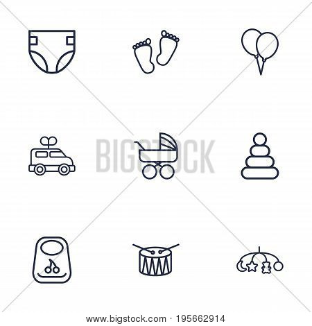Set Of 9 Baby Outline Icons Set.Collection Of Drum, Clockwork Car, Pyramid And Other Elements.