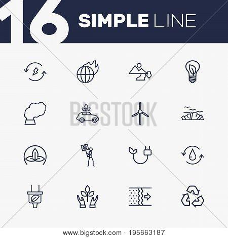 Set Of 16 Ecology Outline Icons Set.Collection Of Global Warming, Nature, Landscape Elements.
