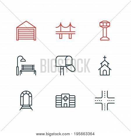 Vector Illustration Of 9 Public Icons. Editable Pack Of Intersection, Control Tower, Building And Other Elements.