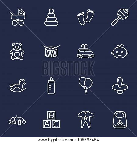 Set Of 16 Child Outline Icons Set.Collection Of Nipple, Bottle, Carriage And Other Elements.