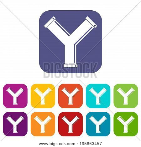 Joint pipe in form Y letter icons set vector illustration in flat style In colors red, blue, green and other