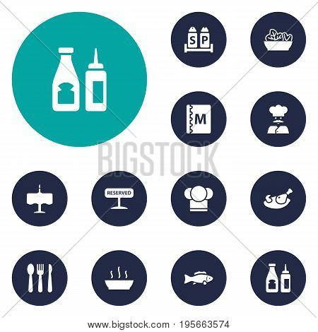 Set Of 12 Restaurant Icons Set.Collection Of Broth, Catsup, Grill And Other Elements.