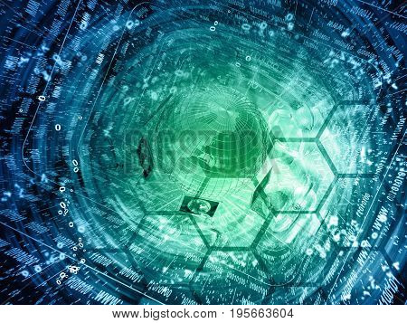 Digits and map - abstract computer background in greens and blues.