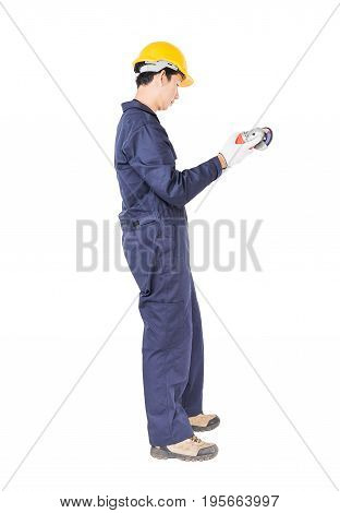 Young Handyman In Uniform Hold Grinder