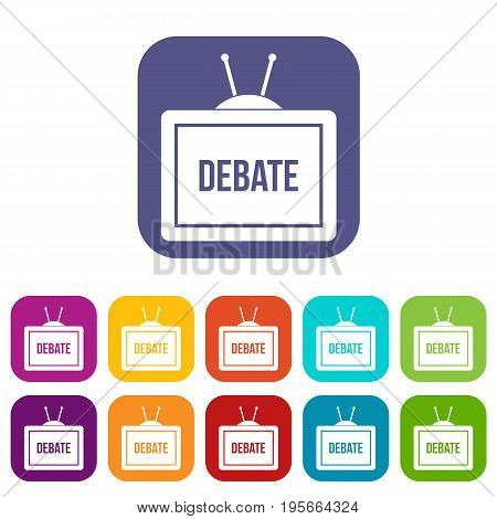 TV with the Debate inscription on the screen icons set vector illustration in flat style In colors red, blue, green and other