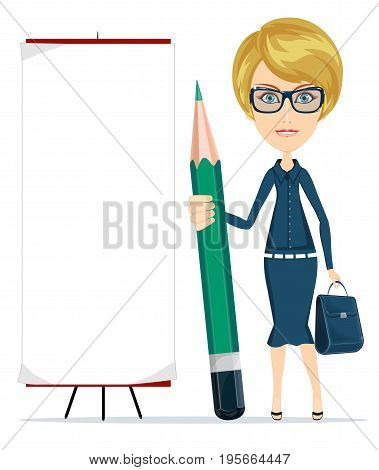 Woman holding a pencil and stands near a blank poster. Stock vector illustration for poster, greeting card, website, ad, business presentation, advertisement design.