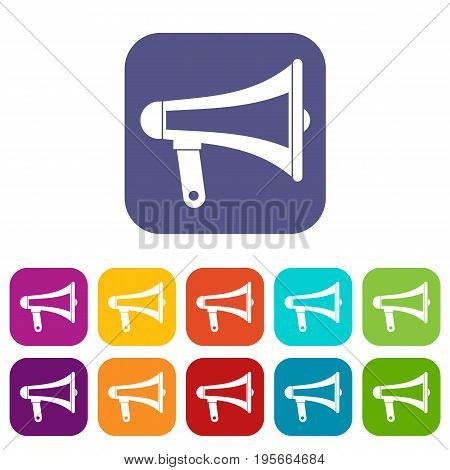 Loudspeaker icons set vector illustration in flat style In colors red, blue, green and other