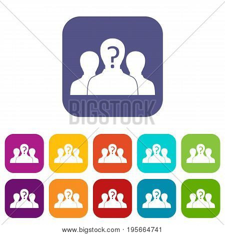 Group of people with unknown personality icons set vector illustration in flat style In colors red, blue, green and other