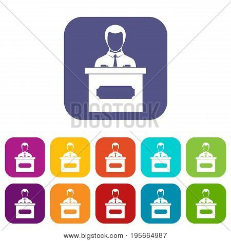 Businessman giving a presentation icons set vector illustration in flat style In colors red, blue, green and other