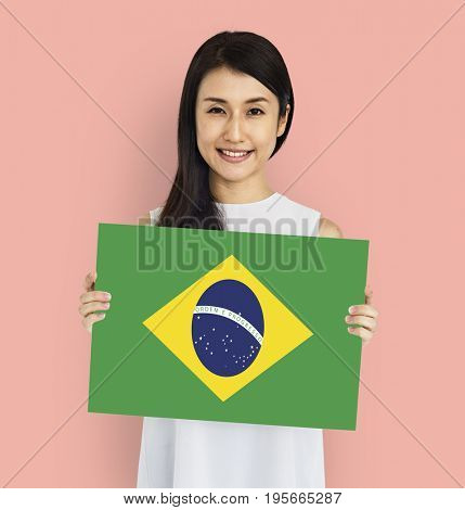 Woman Hands Hold Brazil Flag Patriotism