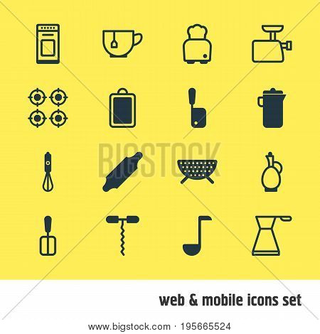 Vector Illustration Of 16 Restaurant Icons. Editable Pack Of Soup Spoon , Wine Opener, Handmixer Elements.