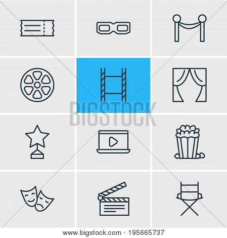 Vector Illustration Of 12 Cinema Icons. Editable Pack Of Coupon, Shooting Seat, Monitor And Other Elements.