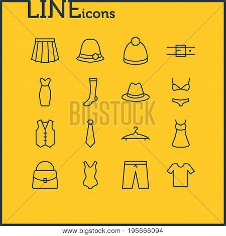 Vector Illustration Of 16 Clothes Icons. Editable Pack Of Pompom, Apparel, Fedora And Other Elements.