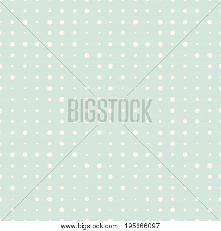 Seamless pattern with beige halftone comic dots on mint background. Pop art circles. Vector illustration.