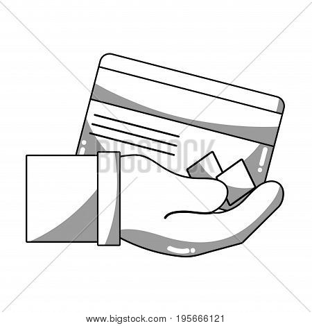 line credit card electronic currency in the hand vector illustration