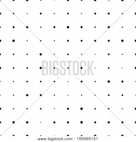 Black and white halftone seamless pattern with circles. Dotted texture. Polka dot on white background. Abstract round seamless pattern. Vector illustration.