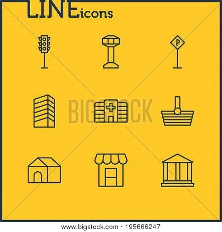 Vector Illustration Of 9 City Icons. Editable Pack Of Skyscraper, Semaphore, Basket And Other Elements.
