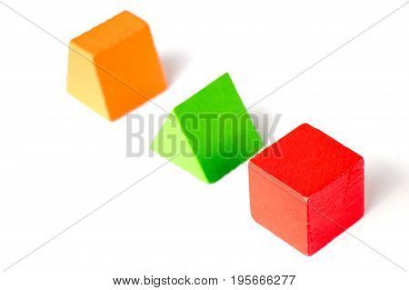Set of wood shape toy block (square triangle trapezoid) on white background