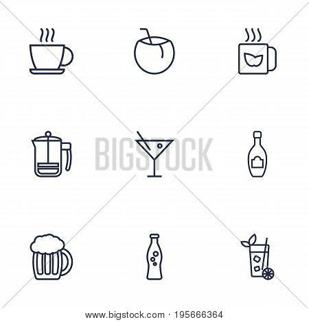 Set Of 9 Beverages Outline Icons Set.Collection Of Champagne, Mojito, Cocktail And Other Elements.