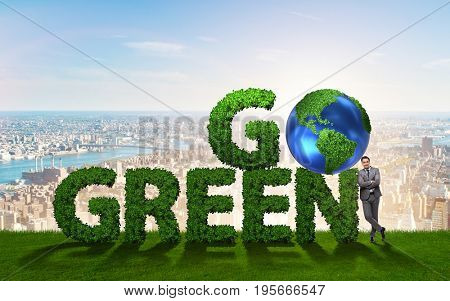 Go Green environmental concept with letters