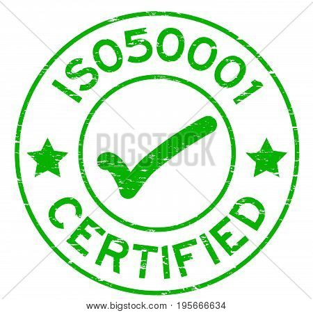 Grunge green ISO 50001 with mark icon round rubber seal stamp on white background