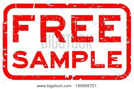 Grunge red free sample square rubber seal stamp on white background