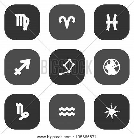 Set Of 9 Galaxy Icons Set.Collection Of Horoscope, Fishes, Earth Planet And Other Elements.