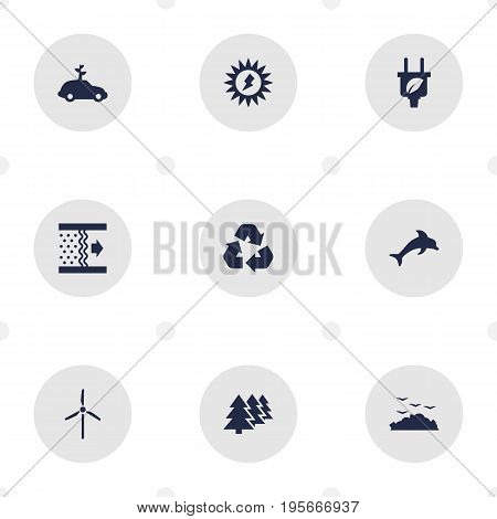 Set Of 9 Bio Icons Set.Collection Of Fish, Cleaning, Reforestation And Other Elements.