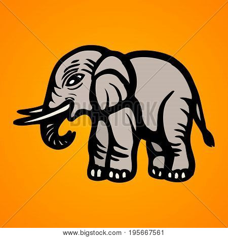 Elephant. Flat Image. Isolated object Vector illustration