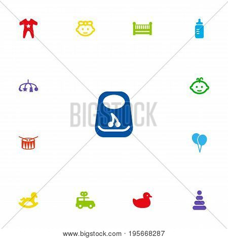 Set Of 13 Baby Icons Set.Collection Of Decoration, Bus, Barrel And Other Elements.