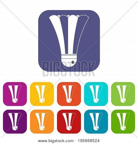 Shuttlecock icons set vector illustration in flat style In colors red, blue, green and other
