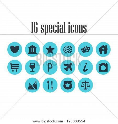 Vector Illustration Of 16 Check-In Icons. Editable Pack Of Bookmark, Cop, Wineglass And Other Elements.