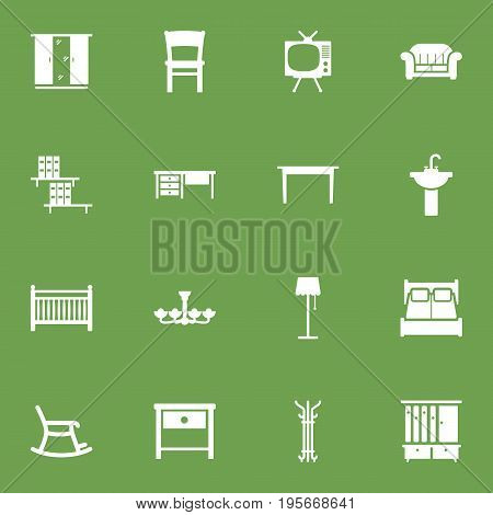 Set Of 16 Situation Icons Set.Collection Of Sink, Luster, Cupboard And Other Elements.