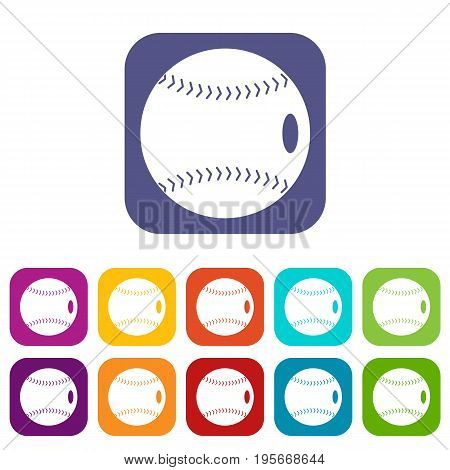Baseball ball icons set vector illustration in flat style In colors red, blue, green and other