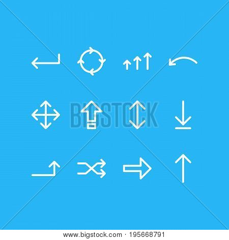 Vector Illustration Of 12 Arrows Icons. Editable Pack Of Increase, Circle, Right And Other Elements.