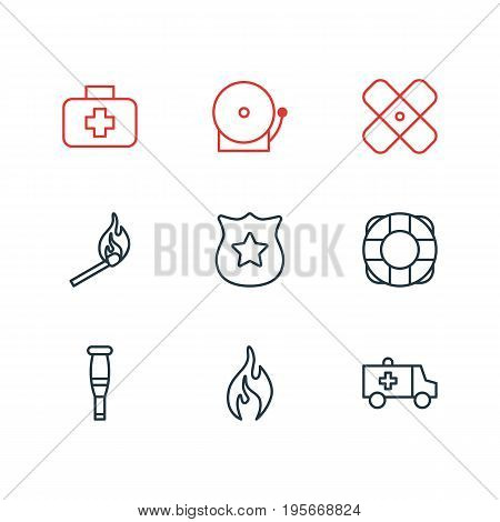 Vector Illustration Of 9 Necessity Icons. Editable Pack Of Lifesaver, Adhesive, Fire And Other Elements.