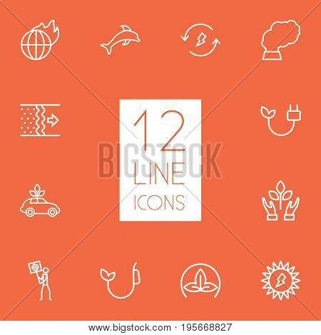 Set Of 12 Bio Outline Icons Set.Collection Of Air, Solar, Renewable Energy And Other Elements.